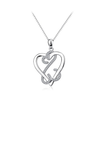 Glamorousky white 925 Sterling Silver Simple Creative Heart Pendant with Cubic Zirconia and Necklace 4DC7FAC1CD47ABGS_1