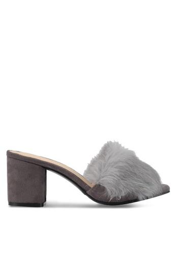addicts anonymous grey Genesis Fur Slip On Heels AD479SH0SVK7MY_1