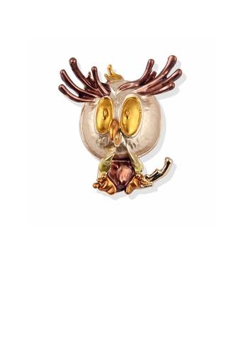 Glamorousky silver Fashion Cute Plated Gold Cartoon Brown Owl Brooch 3897DAC5962DFBGS_1