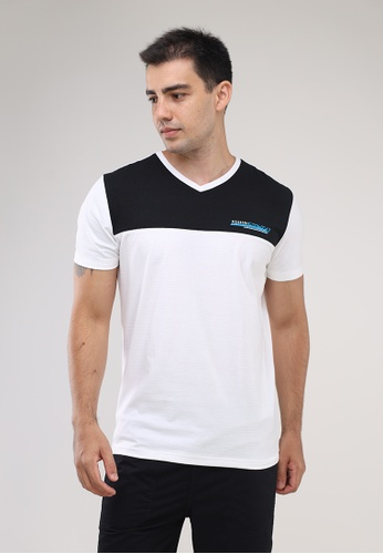 Bossini Men white V Neck Crazylines Short Sleeves T-Shirt FDC2FAA6289BEEGS_1