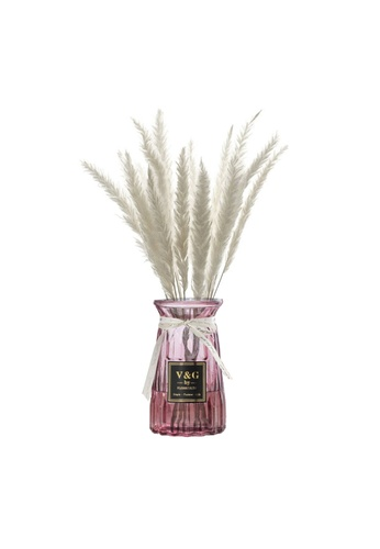 Propstation Ornamental Dried Preserved Pampas Grass White in Maroon Glass Vase B0B72HL251215EGS_1