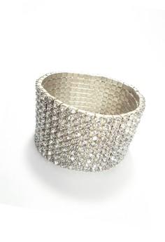 11-Row Wide Cuff Bracelet with Sparkling Crystal Rhinestones