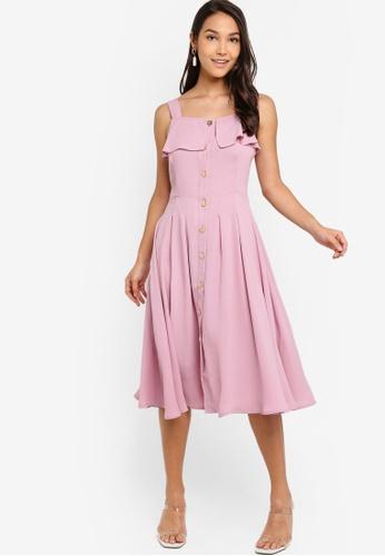 ZALORA 粉紅色 挖肩修身喇叭裙洋裝 F515CAAD0ECCDDGS_1