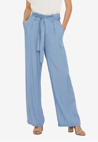 Vero Moda blue Waist Tie Wide Pants 890D1AAF8699D8GS_1