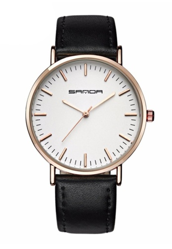 SANDA black SANDA P195 Genuine Leather Black Band Date Display Quartz Watch for Women & Men Unisex (Black) SA708AC0RXGCMY_1
