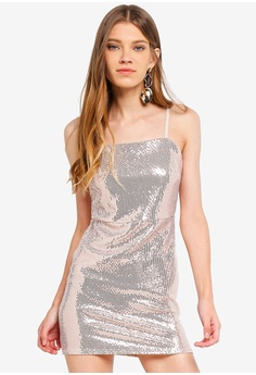 5466adeafd0 Miss Selfridge gold Petite Gold Sequin Square Neck Dress B5E4DAAE0B4DCDGS 1