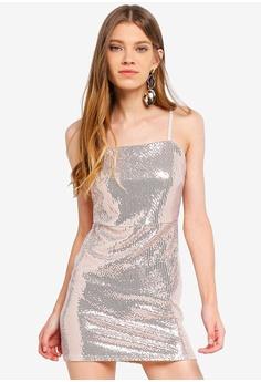 cf768b011aa Miss Selfridge gold Petite Gold Sequin Square Neck Dress B5E4DAAE0B4DCDGS 1