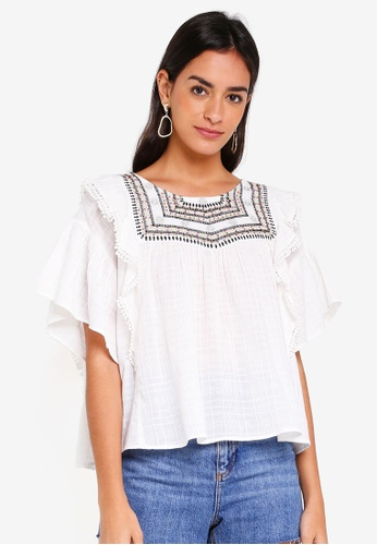TOPSHOP white Embroidered Bead Detailed Smock Blouse A669EAA4AF23C4GS_1