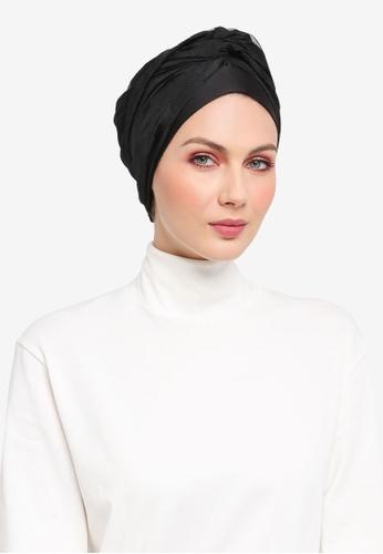 Ilham Echenta for ZALORA black Stripey Organza Celine Turban IL554AA0SY2CMY_1