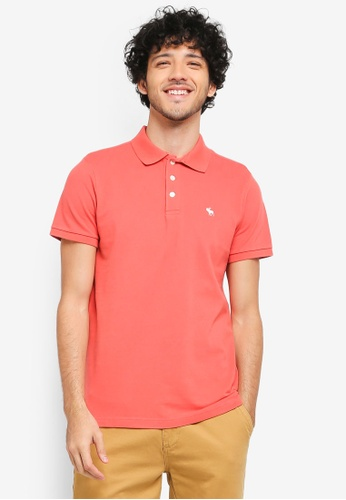 Abercrombie & Fitch red Short Sleeve Icon Polo Shirt AB423AA0T0ANMY_1