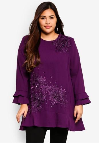 BYN purple Plus Size Muslimah Blouse C34C9AAC688273GS_1