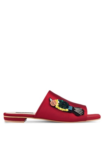 ZALORA red Embellished Bird Detail Sliders CF85ESH2E200B1GS_1