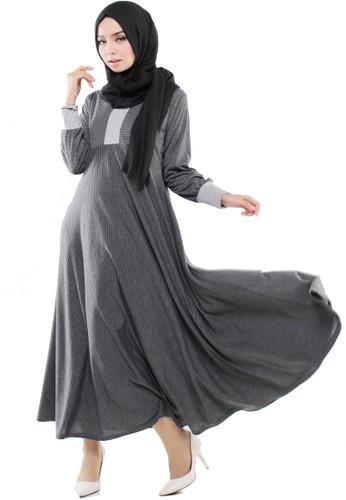 JV Hasanah black Asyifa Misty Stripes Dress 9014BAA58DEE8FGS_1