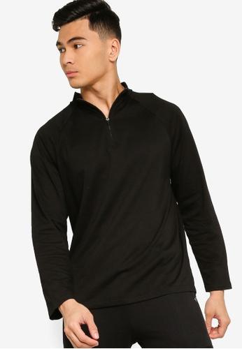 ZALORA ACTIVE black Active Zip Neck Long Sleeves T-shirt FB260AADB36539GS_1