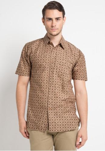 Batik Aksen Tropis brown Prapanca Slimfit Short Sleeve C3669AA4D95CDCGS_1