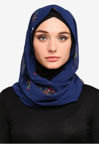 Zalia multi and navy Embroidered Chiffon Snood AE6C6AA06A513BGS_1