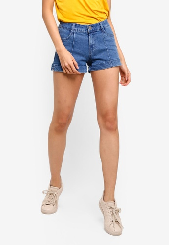 Cotton On blue Mid Rise Classic Stretch Denim Shorts 4942FAAF95E4A8GS_1
