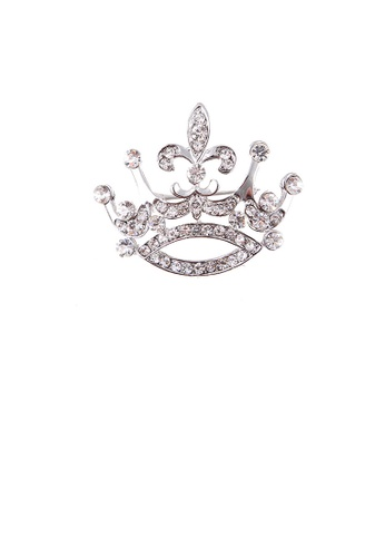 Glamorousky white Fashion and Elegant Crown Brooch with Cubic Zirconia E3FC8AC327342EGS_1