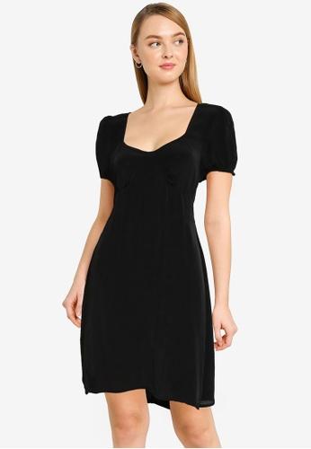 Cotton On black Woven Essential Tie Back Mini Tea Dress 113FDAAC3A9050GS_1
