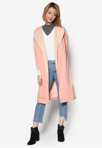 撞色esprit 京站翻領腰帶長版外套, 服飾, 外套