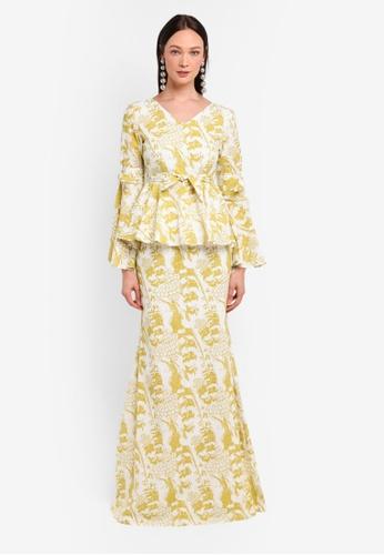 Alia B. yellow Claire Modern Peplum Kurung With Bow Detail AL946AA0STDDMY_1