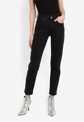 LOST INK black Chill Mom Washed Black Jeans F7EB3AACE69909GS_1