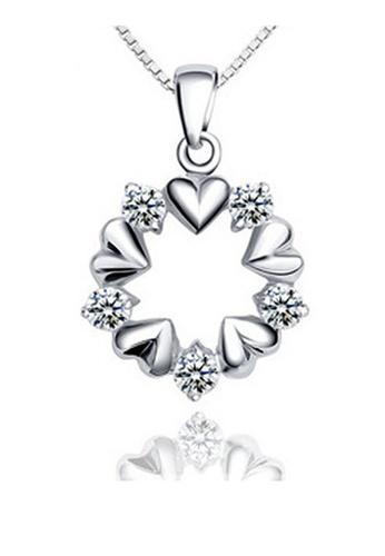YOUNIQ silver YOUNIQ Surrouned Love 925 Sterling Silver Necklace Pendant with Cubic Zirconia YO999AC36SFFMY_1