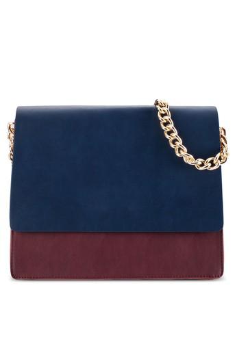 ZALORA Colour-Blocked Double Gusset Shoulder Bag
