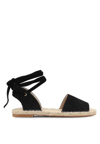 ZALORA 黑色 Tie-Up Espadrille Sandals 0CB95SH85D73E3GS_1
