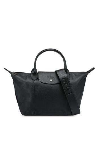 LONGCHAMP black Le Pliage Cuir Top Handle Bag S (nt) 92CFCAC1036D7CGS_1