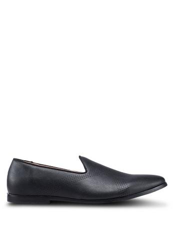 Burton Menswear London 黑色 雕紋樂福鞋 15CAESH0E2BA9FGS_1