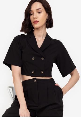 ZALORA WORK black Short Sleeve Blazer 2281DAAC83A280GS_1