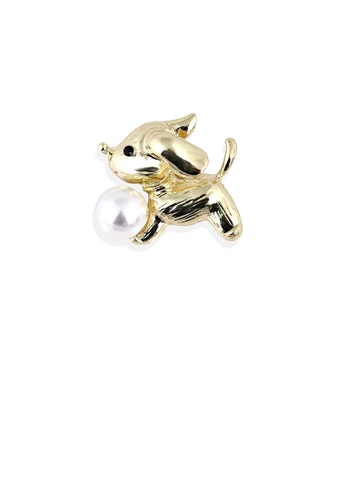 Glamorousky white Simple and Cute Plated Gold Puppy Imitation Pearl Brooch 7E1FEAC669A3E3GS_1