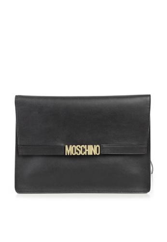 Moschino black MOSCHINO LOGO CLUTCH 6097EAC6D10178GS_1