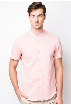 Mandarin Collar Button-Down Shirt