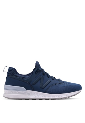 New Balance green and blue 574 Sport Lifestyle Sneakers 9D378SHDD86EB1GS_1