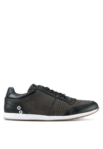 Dune London black Mesh Emboss Runners Sneakers DU588SH0RK6MMY_1