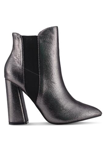 Public Desire grey Bentley Block Heel Ankle Boots 7650FSH28DE6A3GS_1