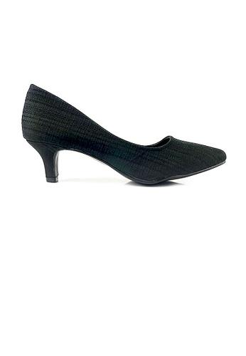 SHINE black SHINE Point Toe Texture Satin Pumps D949DSH4DF83EBGS_1