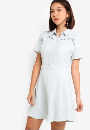 Something Borrowed 藍色 Ruffles Shirt Dress 917E6AA6396F13GS_1
