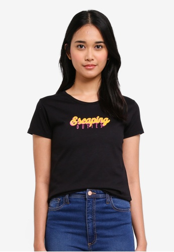 Penshoppe black Semi Fit Tee With Embroidery Detail 503D9AA8A0652CGS_1