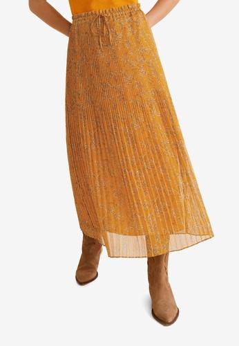 Mango 褐色 Printed Pleated Skirt 912DBAAE1956CBGS_1