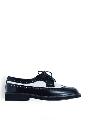 HARUTA black and white Quilt Lace-Up Shoes-379 185DCSHF0DB090GS_1