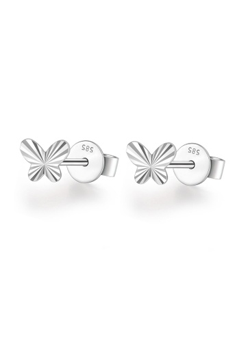 MaBelle silver 14K White Gold Faceted Butterfly Stud Earrings MA584AC10IHDHK_1