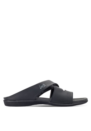 Louis Cuppers black Cross Strap Sandals LO977SH21RDMMY_1