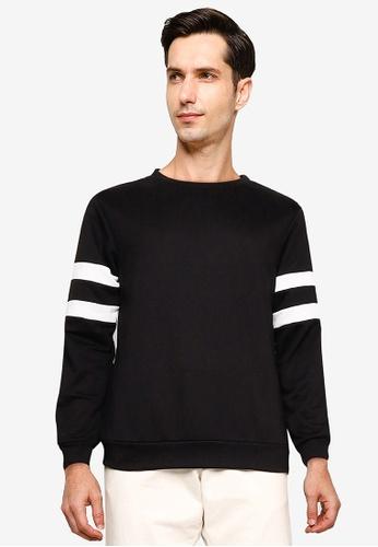 ZALORA BASICS black Stripe Sleeve Sweatshirt 073AEAAA2D711FGS_1