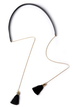 YOUNIQ  YOUNIQ-Basic Korean Ori & Dropped Tassel Gold Black Choker