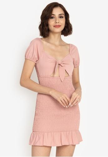 ZALORA BASICS pink Smocked Flutter Hem Mini Dress 7FD21AA2B3C6C2GS_1