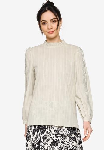 Zalia grey Textured Ruffle Neckline Top 6F270AA96029CBGS_1