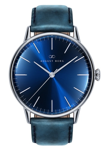 August Berg blue SERENITY DEEP BLUE Silver Classic Blue Leather 40mm E0EDEACB438B83GS_1